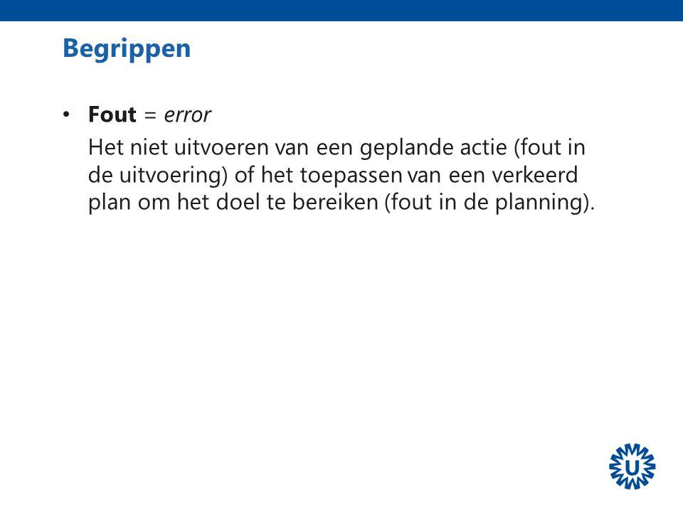 Begrippen Fout = error.