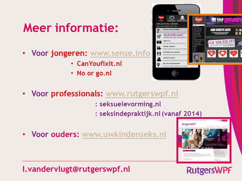 Meer informatie: Voor jongeren: www.sense.info