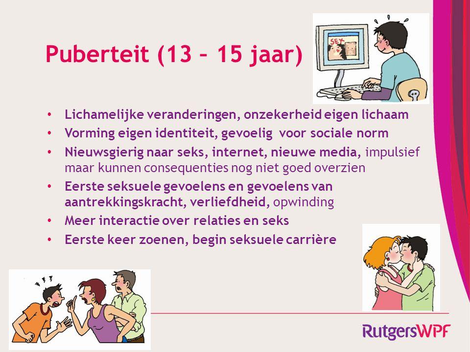 Puberteit (13 – 15 jaar) Lichamelijke veranderingen, onzekerheid eigen lichaam. Vorming eigen identiteit, gevoelig voor sociale norm.