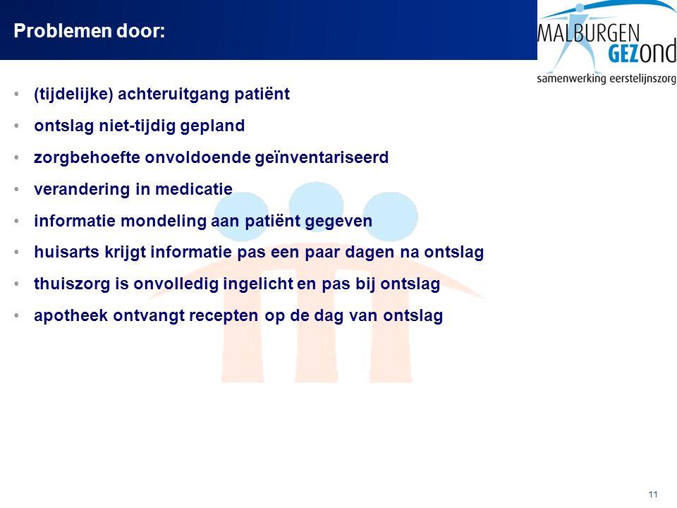 Problemen door: (tijdelijke) achteruitgang patiënt