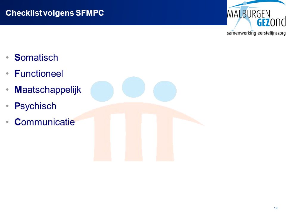 Checklist volgens SFMPC