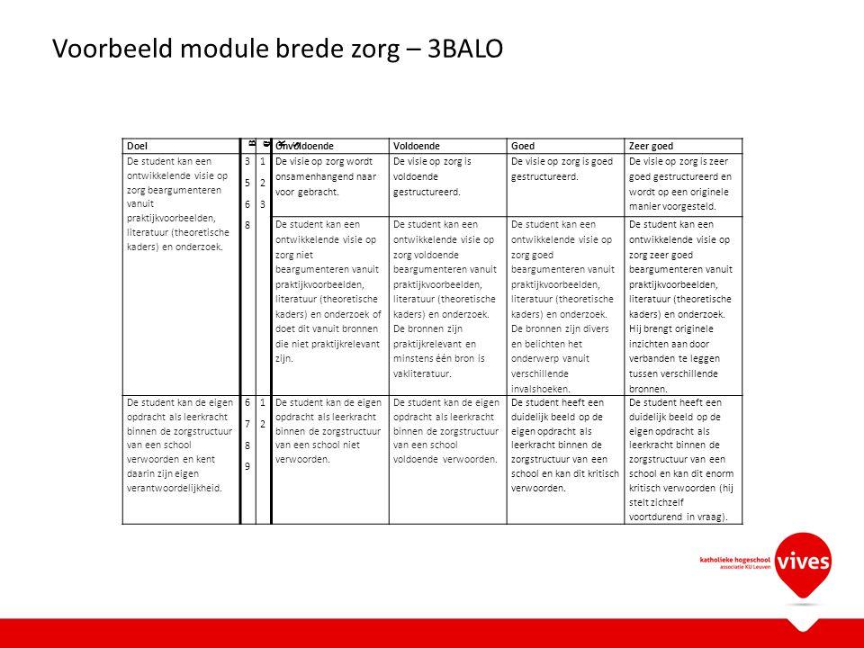 Voorbeeld module brede zorg – 3BALO