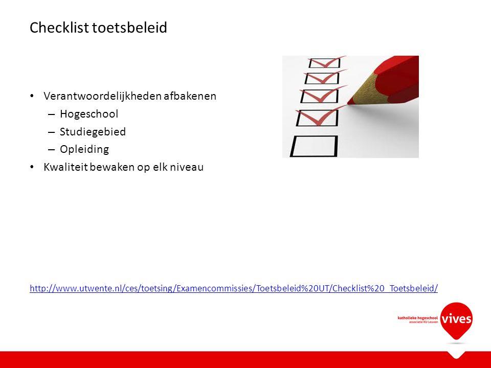Checklist toetsbeleid