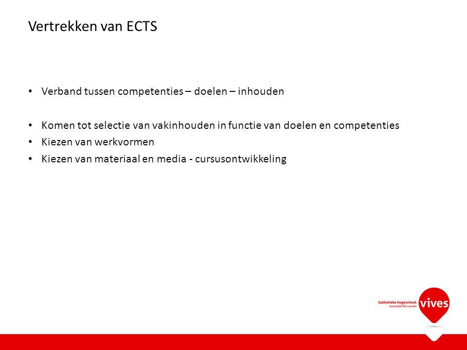 Vertrekken van ECTS Verband tussen competenties – doelen – inhouden