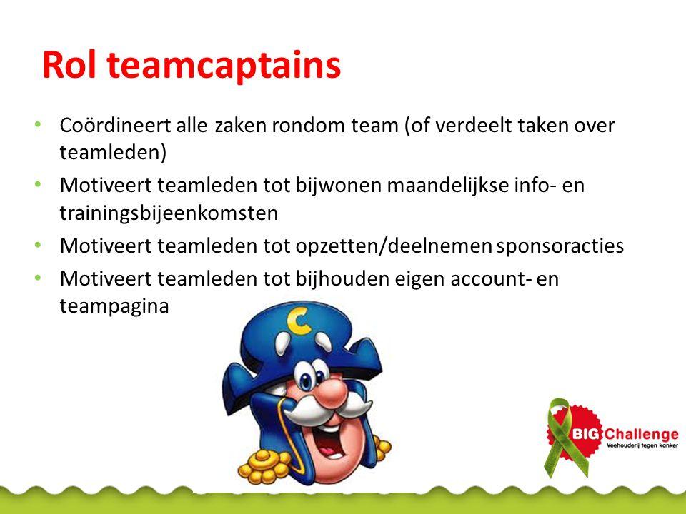 Rol teamcaptains Coördineert alle zaken rondom team (of verdeelt taken over teamleden)