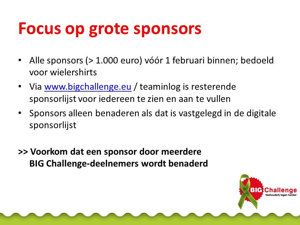 Focus op grote sponsors
