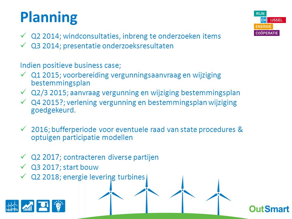 Planning Q2 2014; windconsultaties, inbreng te onderzoeken items