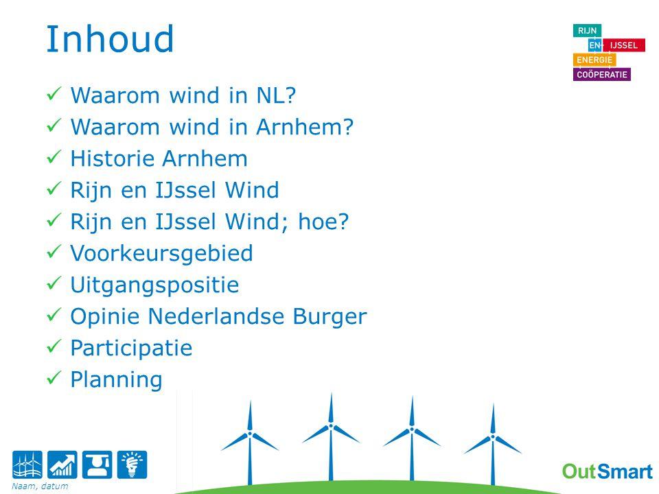 Inhoud Waarom wind in NL Waarom wind in Arnhem Historie Arnhem