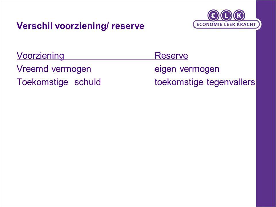 Verschil voorziening/ reserve
