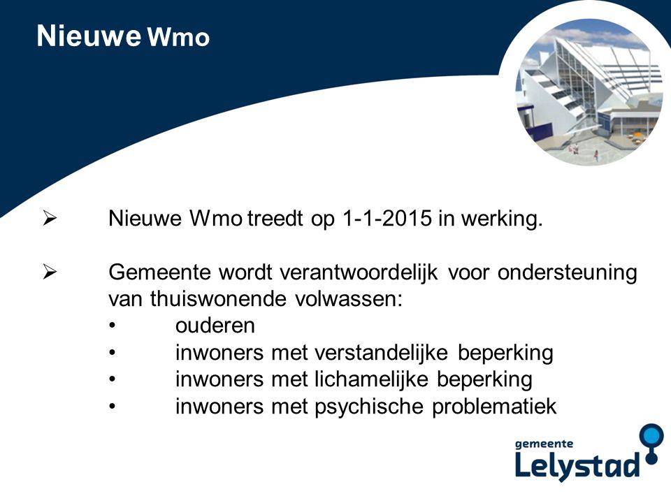 Nieuwe Wmo Nieuwe Wmo treedt op 1-1-2015 in werking.