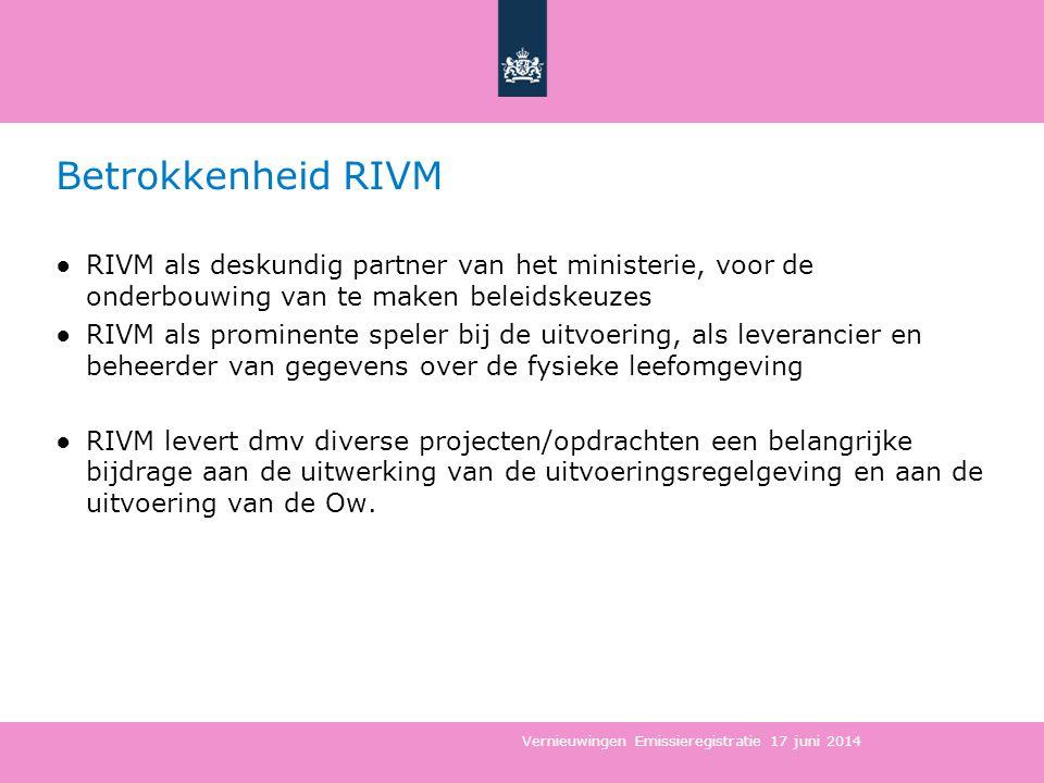 Betrokkenheid RIVM RIVM als deskundig partner van het ministerie, voor de onderbouwing van te maken beleidskeuzes.