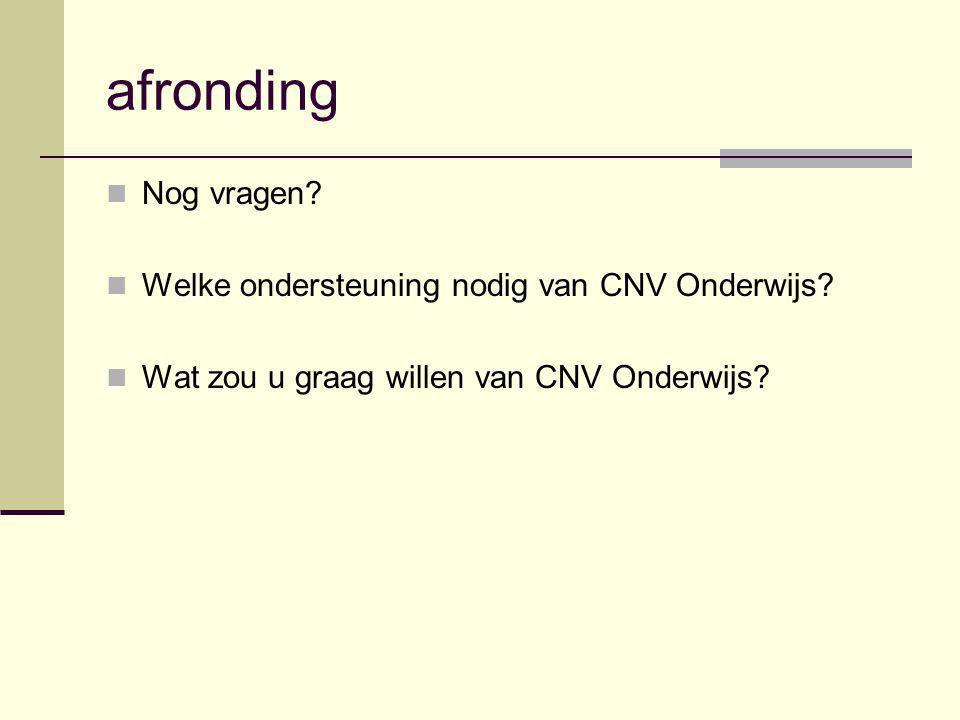 afronding Nog vragen Welke ondersteuning nodig van CNV Onderwijs