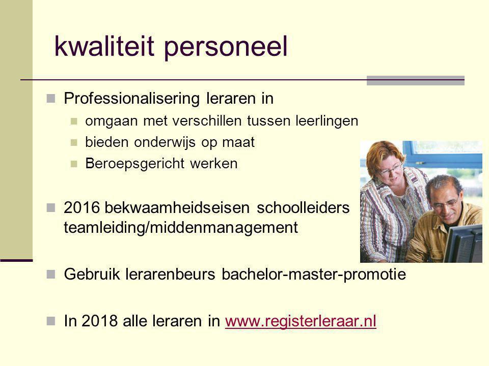 kwaliteit personeel Professionalisering leraren in