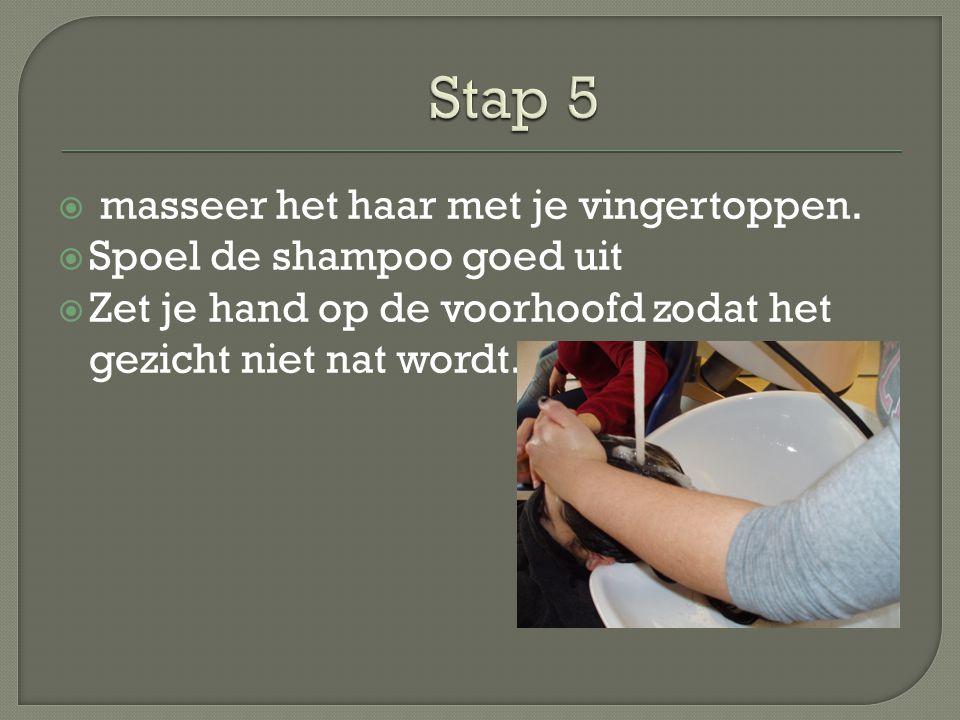Stap 5 masseer het haar met je vingertoppen. Spoel de shampoo goed uit