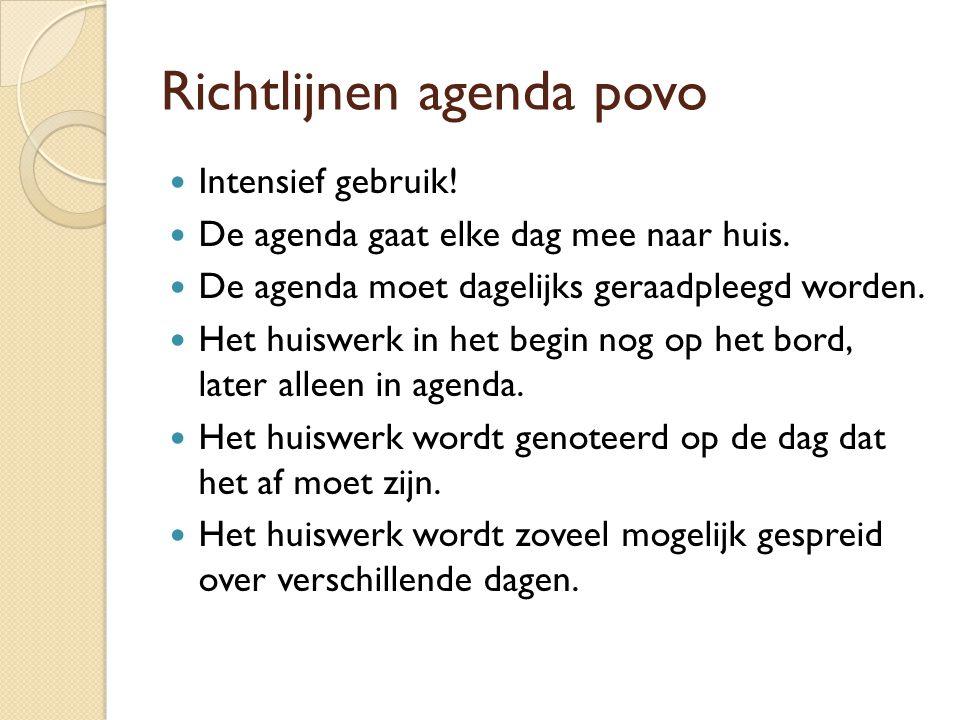 Richtlijnen agenda povo