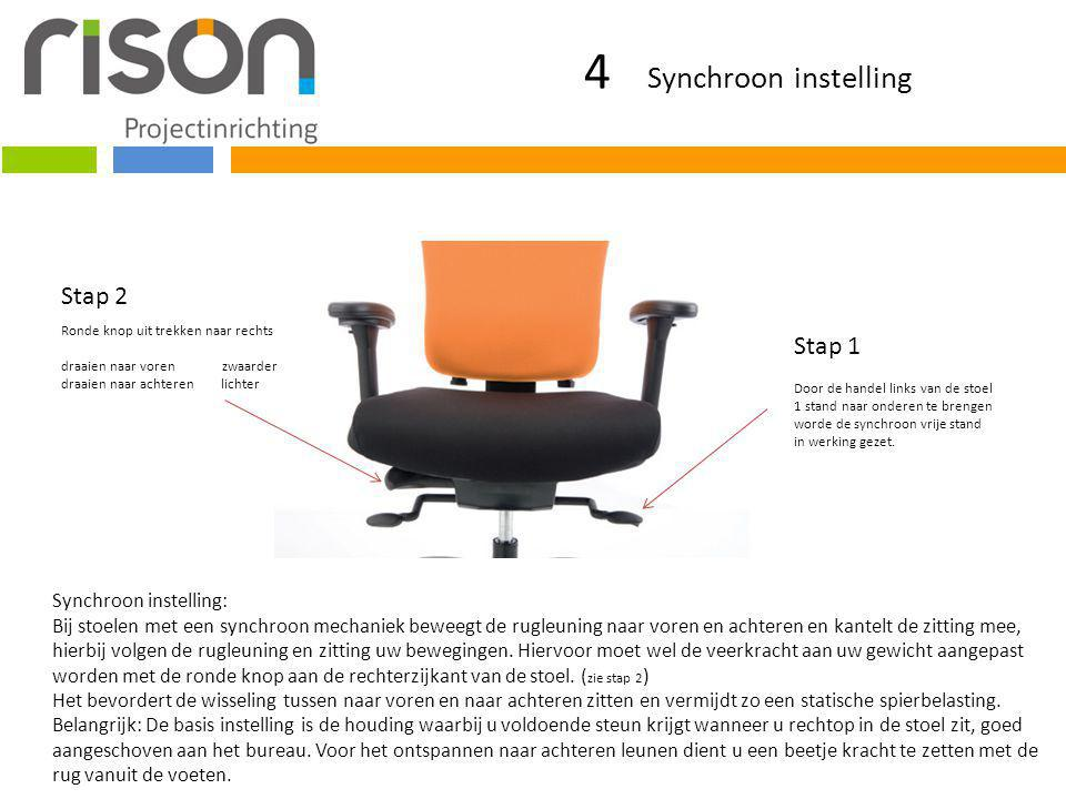 4 Synchroon instelling Stap 2 Stap 1 Synchroon instelling: