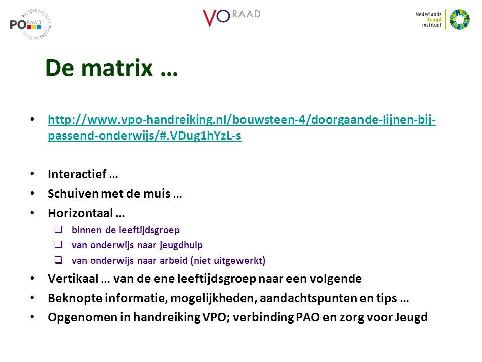 De matrix … http://www.vpo-handreiking.nl/bouwsteen-4/doorgaande-lijnen-bij-passend-onderwijs/#.VDug1hYzL-s.