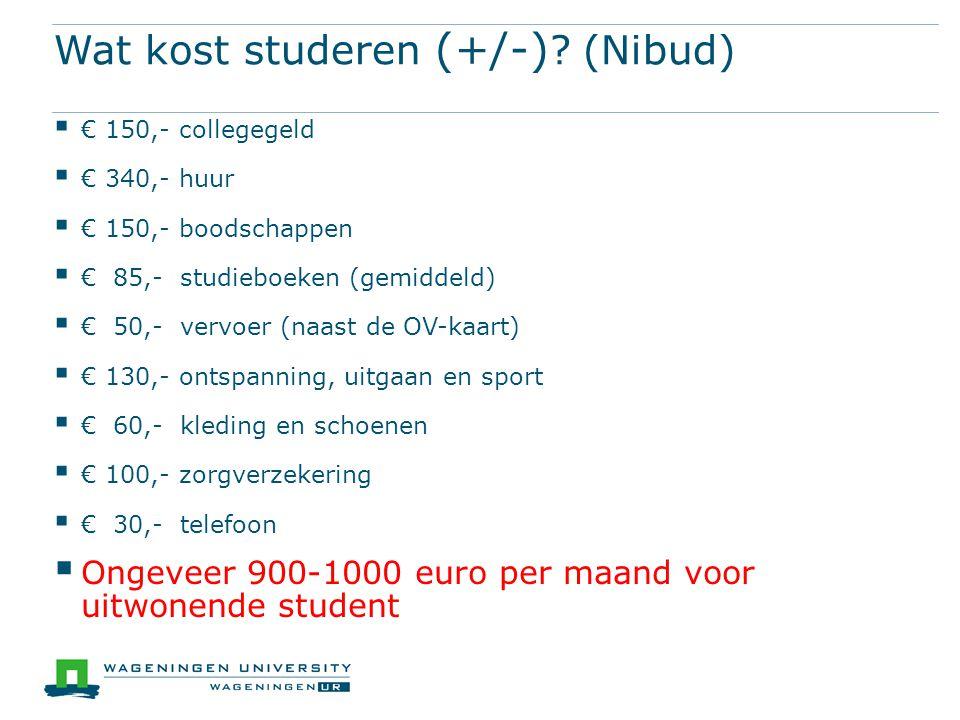 Wat kost studeren (+/-) (Nibud)