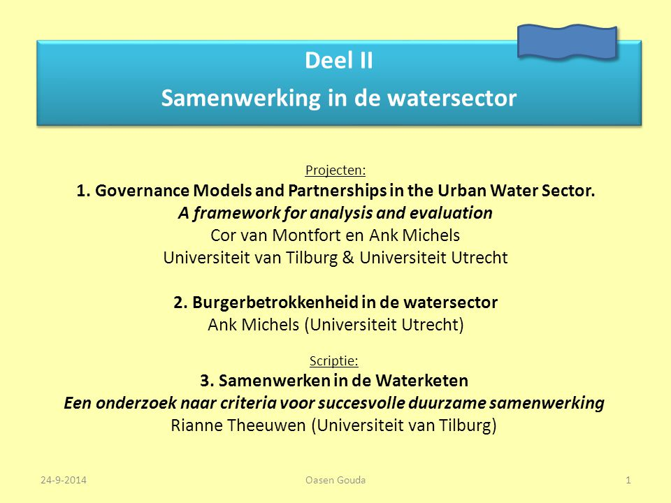 Deel II Samenwerking in de watersector