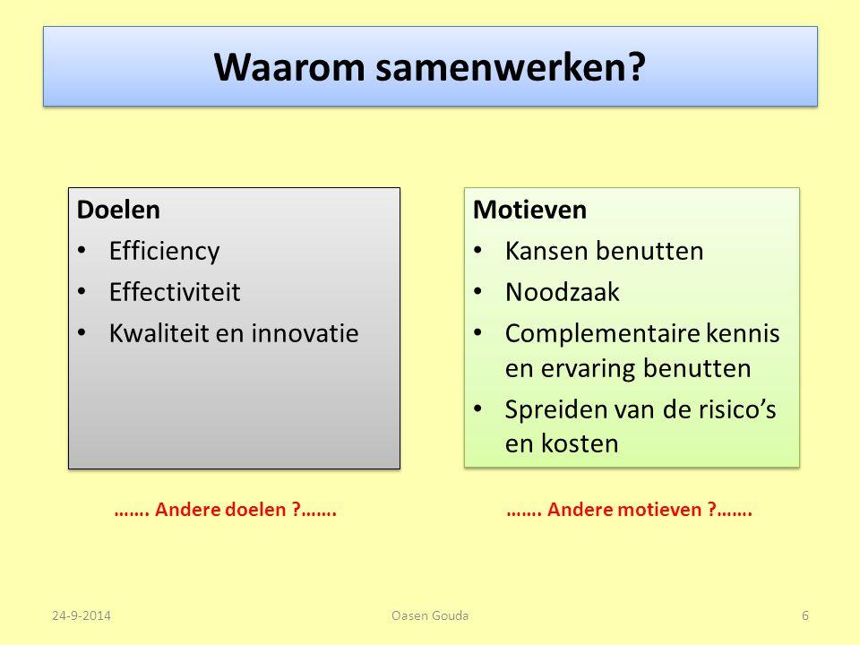 Waarom samenwerken Doelen Efficiency Effectiviteit