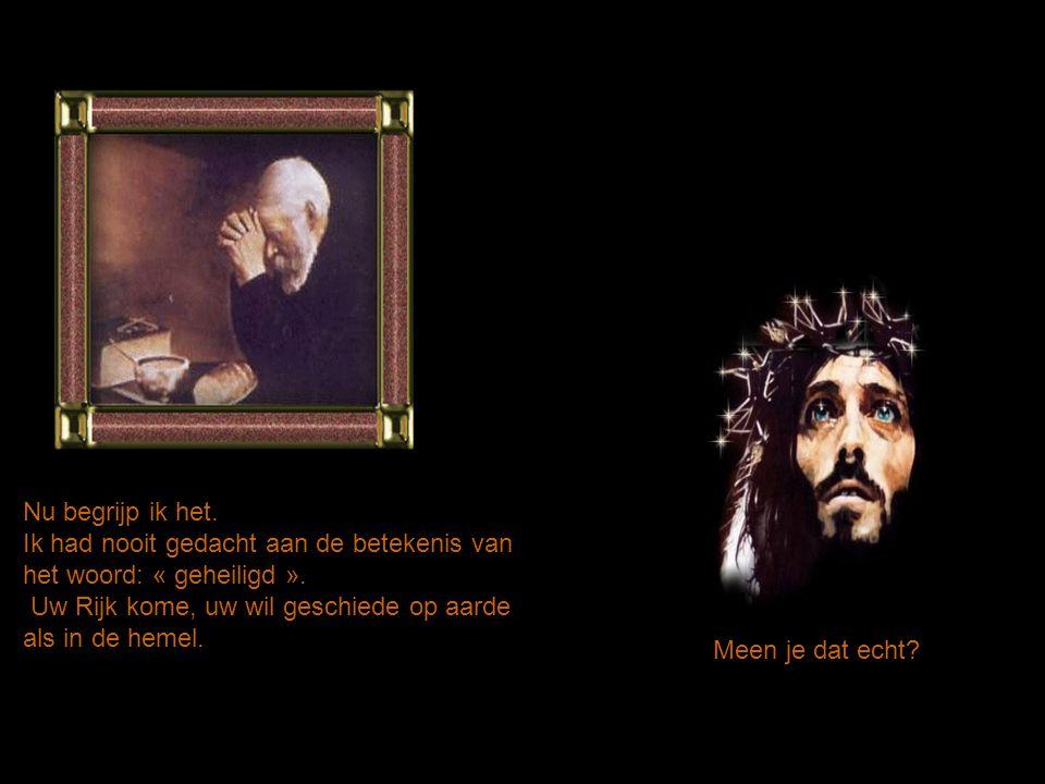 Nu begrijp ik het. Ik had nooit gedacht aan de betekenis van het woord: « geheiligd ». Uw Rijk kome, uw wil geschiede op aarde als in de hemel.