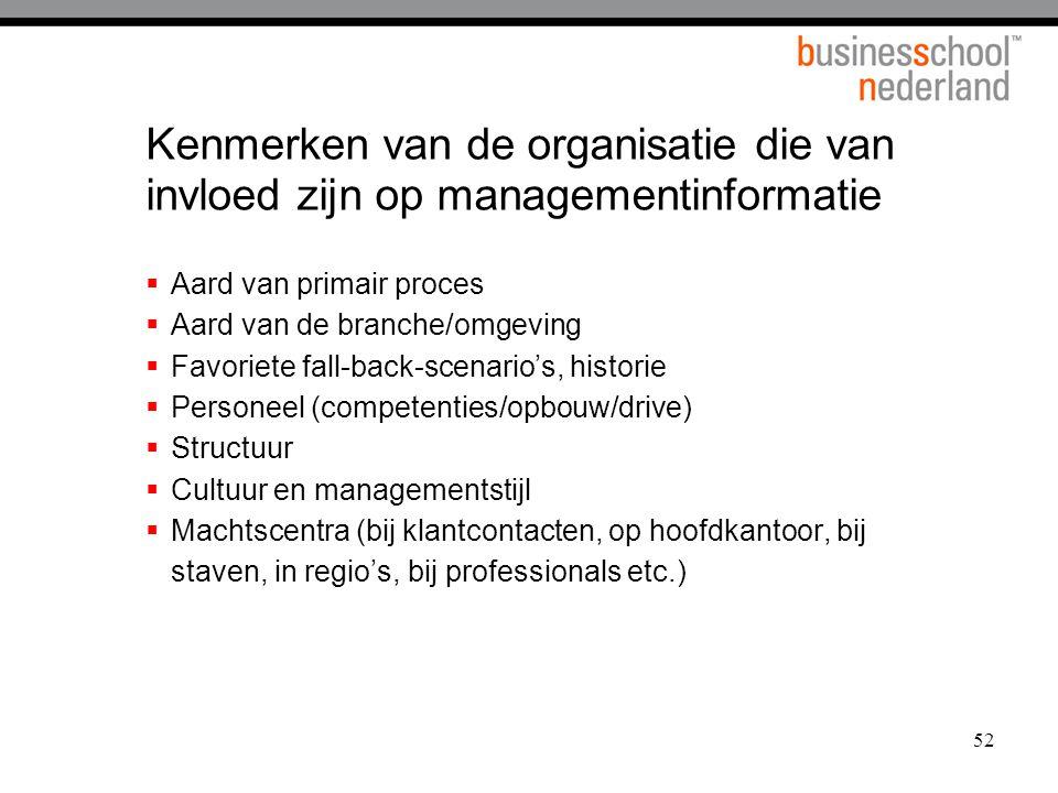Kenmerken van de organisatie die van invloed zijn op managementinformatie