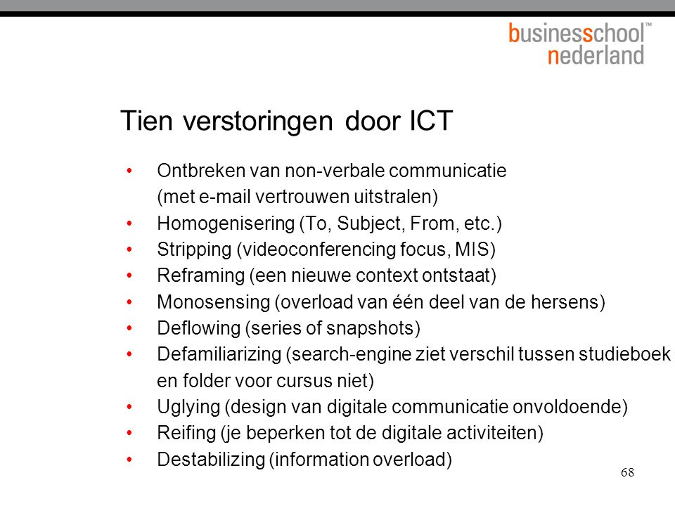 Tien verstoringen door ICT
