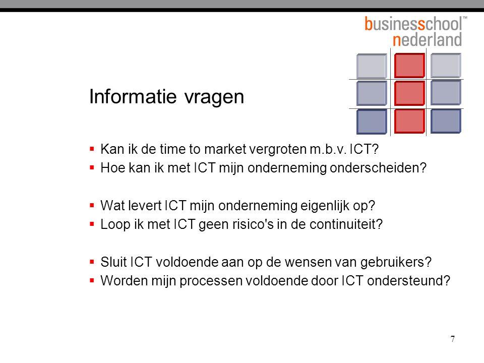 Informatie vragen Kan ik de time to market vergroten m.b.v. ICT