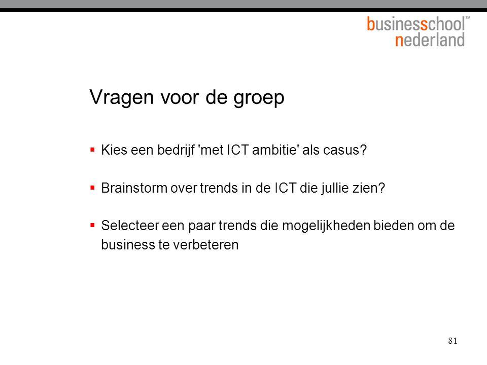 Vragen voor de groep Kies een bedrijf met ICT ambitie als casus