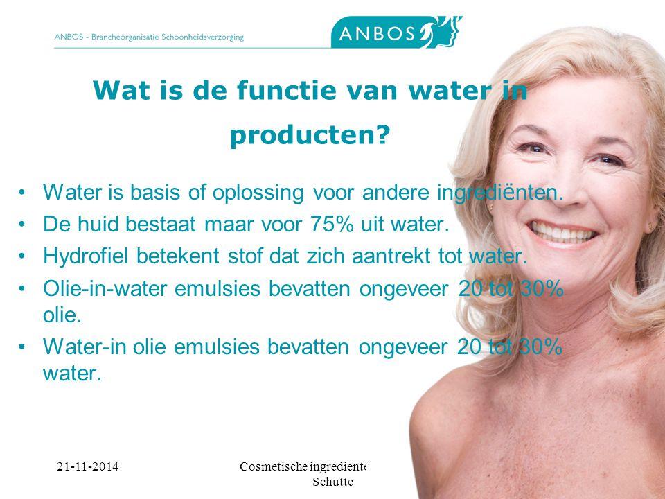 Wat is de functie van water in producten