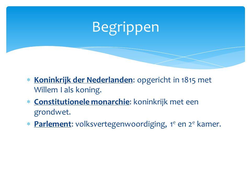 Begrippen Koninkrijk der Nederlanden: opgericht in 1815 met Willem I als koning. Constitutionele monarchie: koninkrijk met een grondwet.
