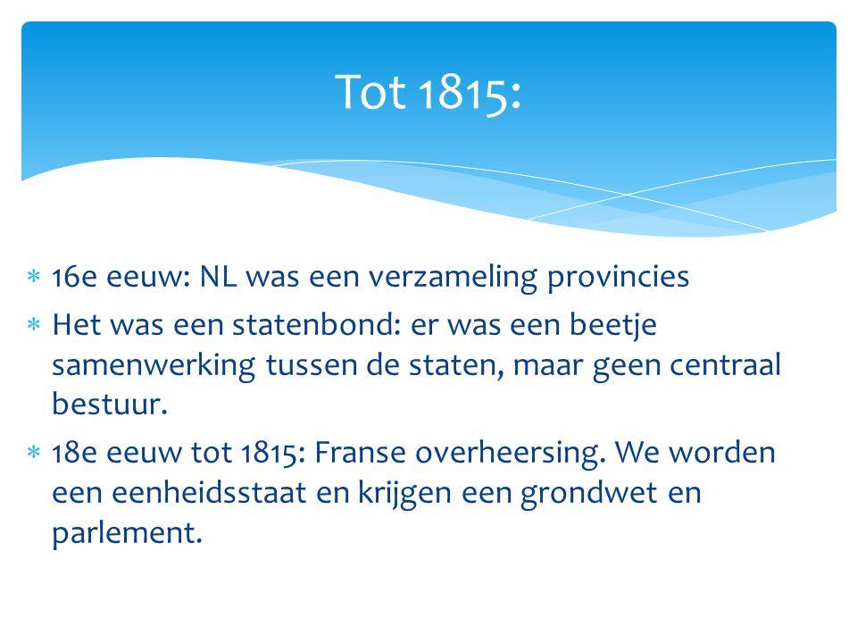 Tot 1815: 16e eeuw: NL was een verzameling provincies
