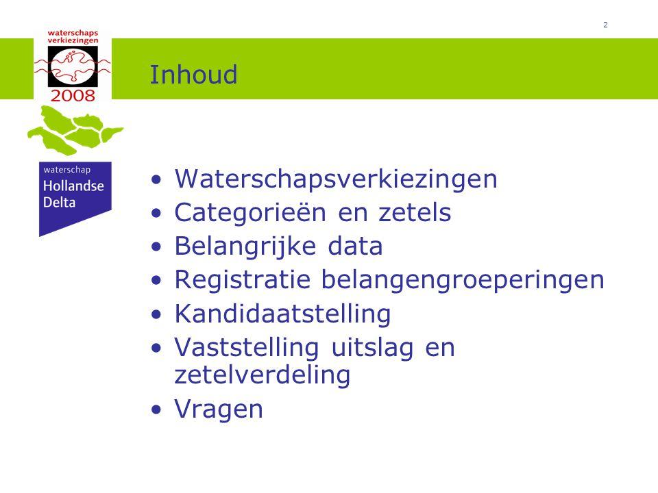 Inhoud Waterschapsverkiezingen. Categorieën en zetels. Belangrijke data. Registratie belangengroeperingen.