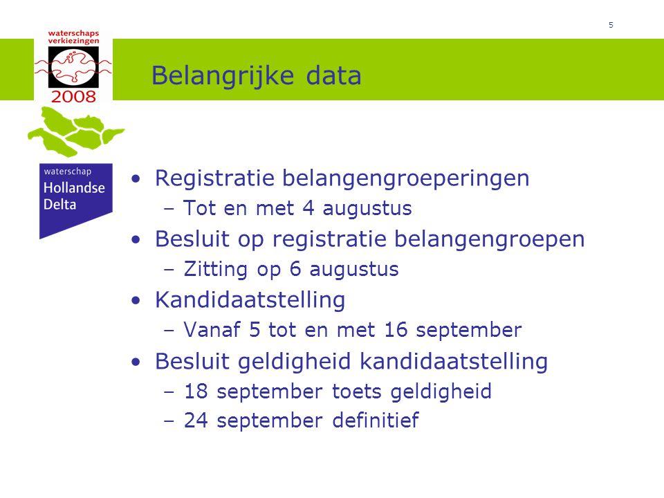 Belangrijke data Registratie belangengroeperingen