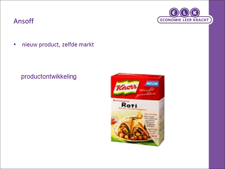Ansoff nieuw product, zelfde markt productontwikkeling