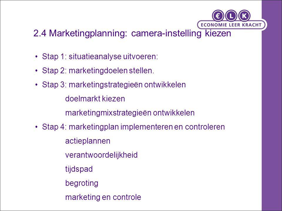2.4 Marketingplanning: camera-instelling kiezen