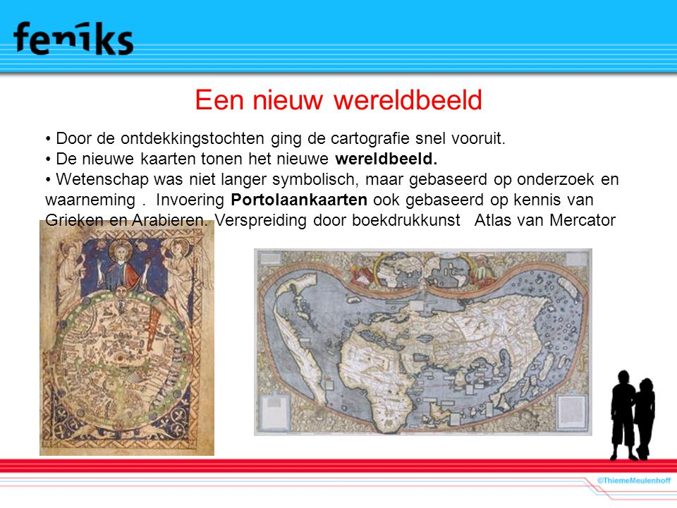 Een nieuw wereldbeeld Door de ontdekkingstochten ging de cartografie snel vooruit. De nieuwe kaarten tonen het nieuwe wereldbeeld.