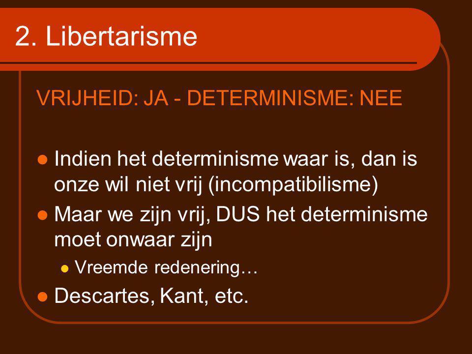 2. Libertarisme VRIJHEID: JA - DETERMINISME: NEE