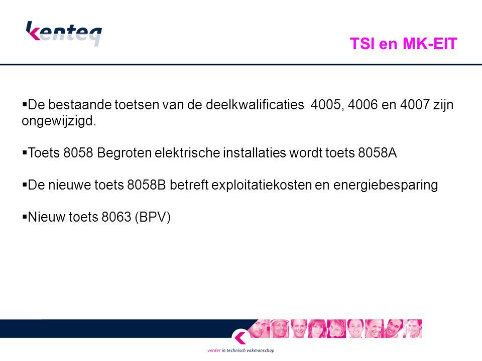 TSI en MK-EIT De bestaande toetsen van de deelkwalificaties 4005, 4006 en 4007 zijn ongewijzigd.