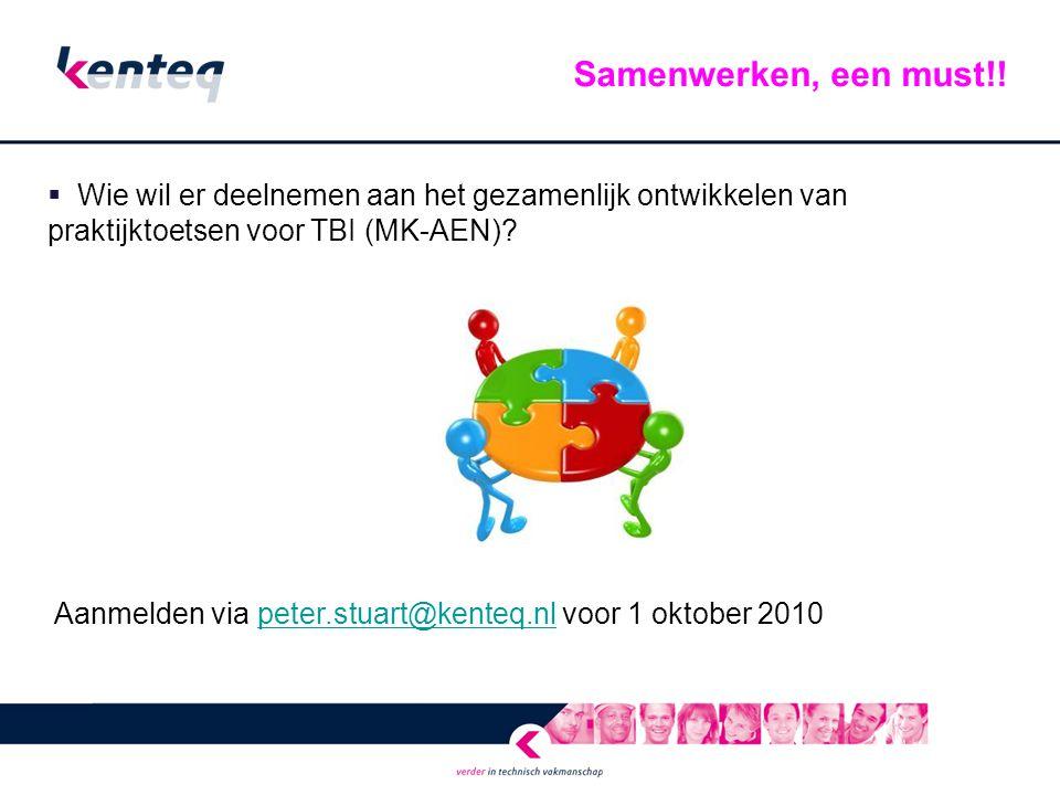 Samenwerken, een must!! Wie wil er deelnemen aan het gezamenlijk ontwikkelen van praktijktoetsen voor TBI (MK-AEN)