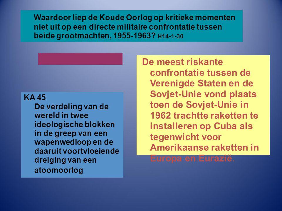 Waardoor liep de Koude Oorlog op kritieke momenten niet uit op een directe militaire confrontatie tussen beide grootmachten, 1955-1963 H14-1-30