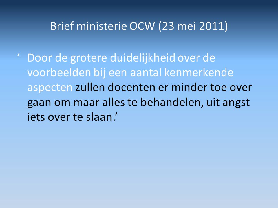 Brief ministerie OCW (23 mei 2011)