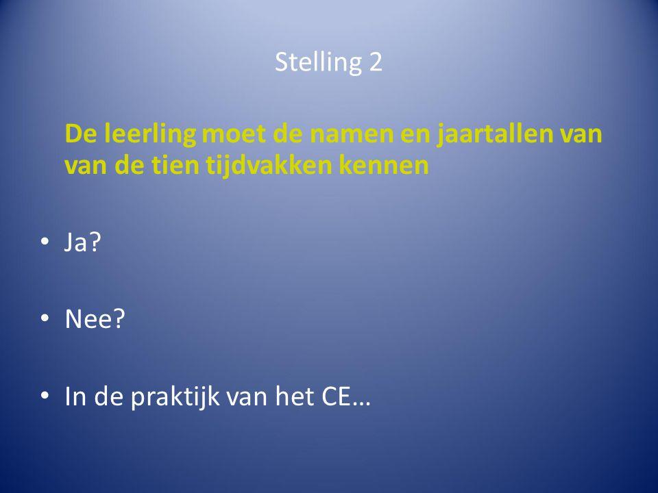 Stelling 2 De leerling moet de namen en jaartallen van van de tien tijdvakken kennen.