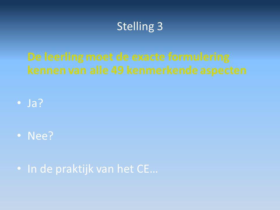 Stelling 3 De leerling moet de exacte formulering kennen van alle 49 kenmerkende aspecten. Ja Nee
