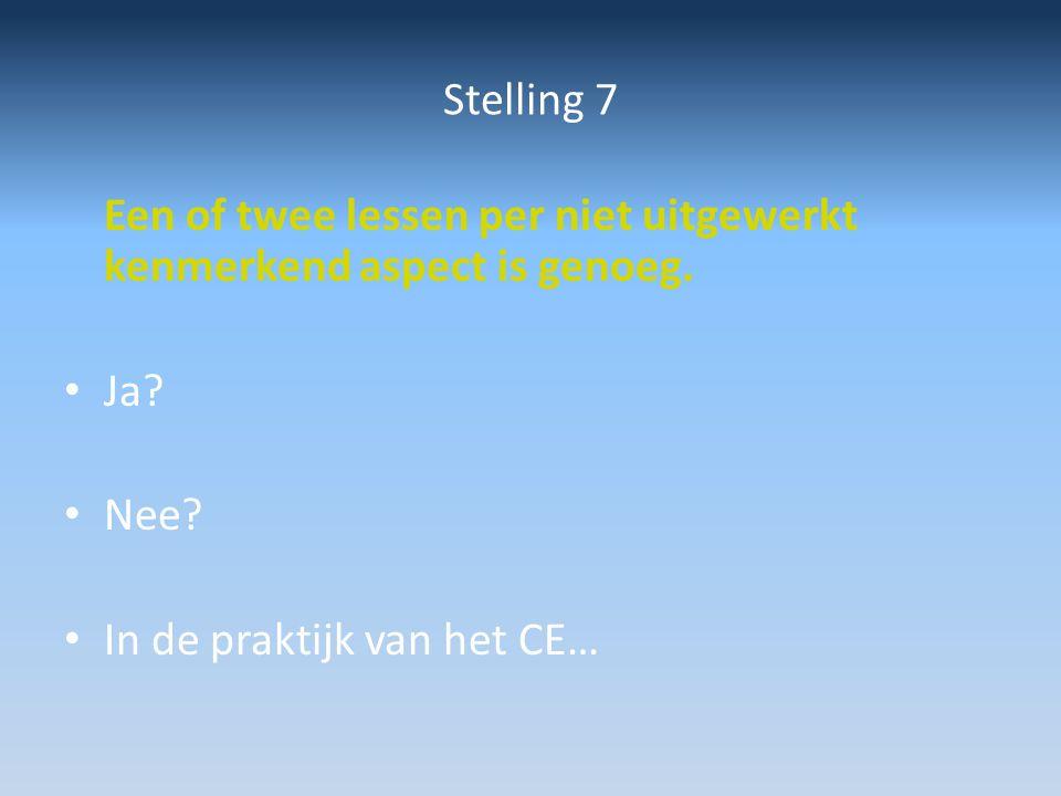 Stelling 7 Een of twee lessen per niet uitgewerkt kenmerkend aspect is genoeg.
