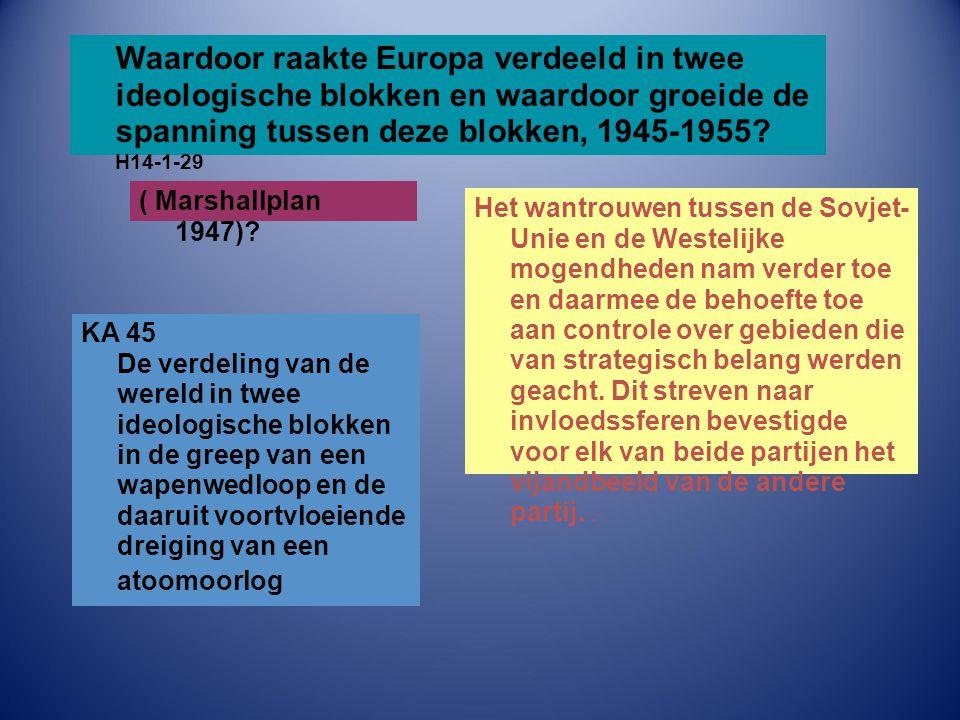 Waardoor raakte Europa verdeeld in twee ideologische blokken en waardoor groeide de spanning tussen deze blokken, 1945-1955 H14-1-29