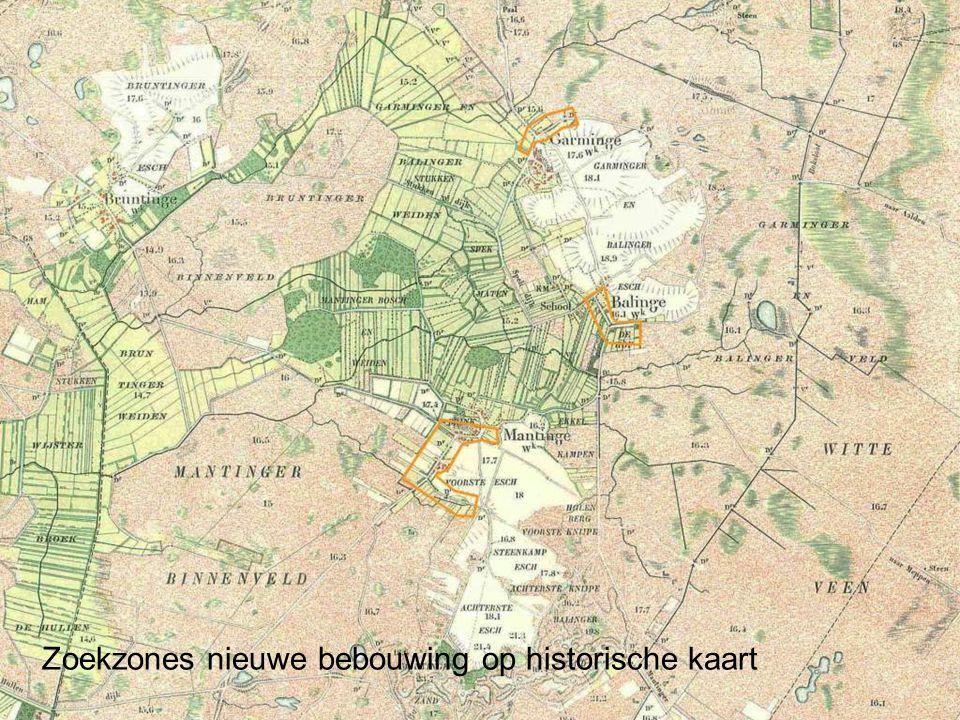 Zoekzones nieuwe bebouwing op historische kaart