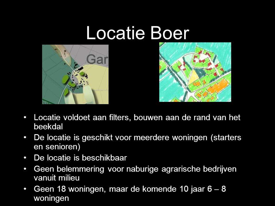 Locatie Boer Locatie voldoet aan filters, bouwen aan de rand van het beekdal. De locatie is geschikt voor meerdere woningen (starters en senioren)
