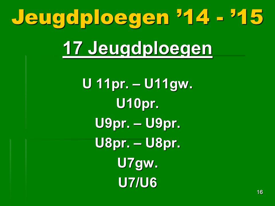 Jeugdploegen '14 - '15 17 Jeugdploegen U 11pr. – U11gw. U10pr.