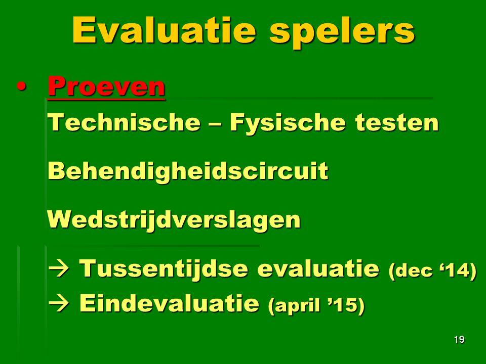 Evaluatie spelers Proeven Technische – Fysische testen